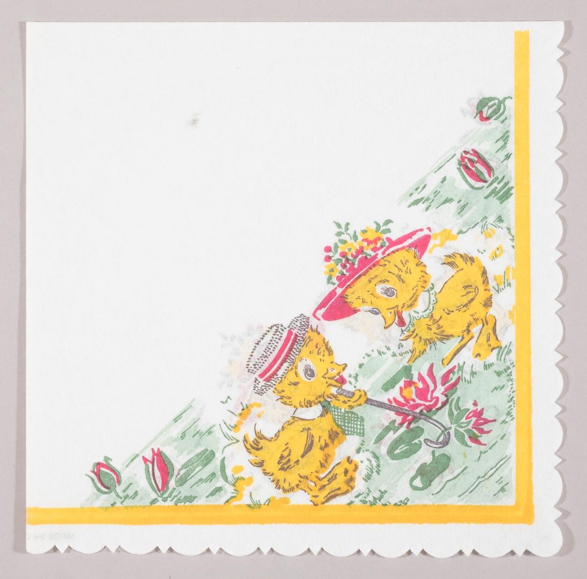 En and med herrehatt, slips og spaserstokk plukker en vannlilje til en and med damehatt. Endene står ved bredden av en sjø med vannliljer. Gul kant.