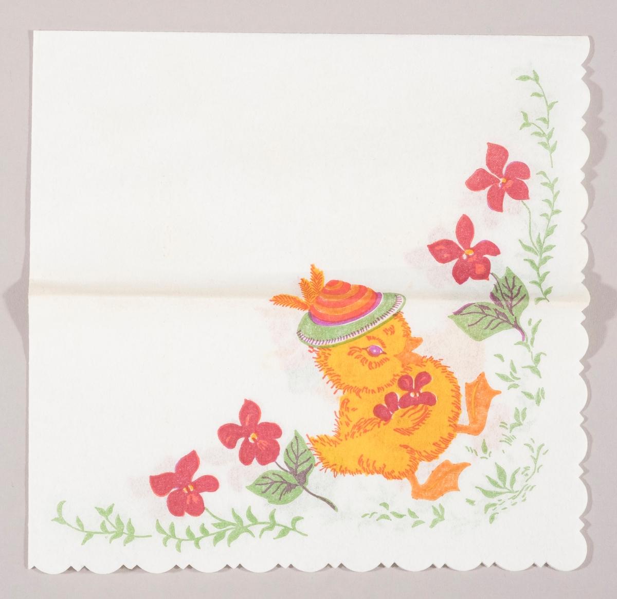 En andunge med hatt og blomster under vingen. Store røde blomster.