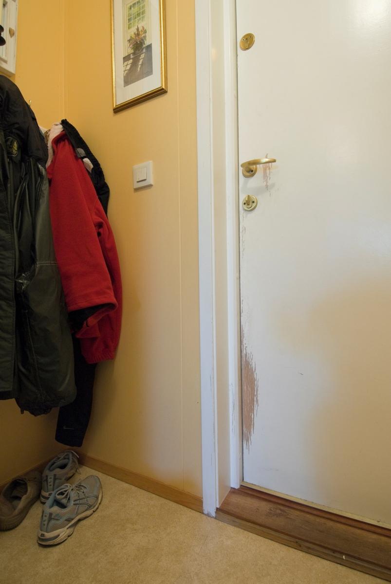 Hjemme hos hunden Romeo. Spor etter hundepoter på døren.