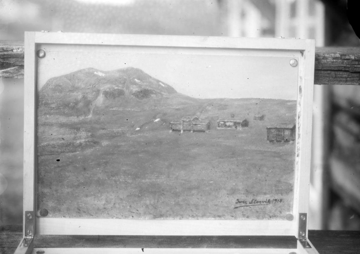Avfotografert maleri av Sandnes seter, Bessa. Signert Iver Storvik 1918