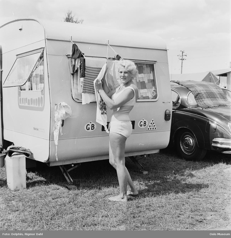 Bogstad Camping, kvinne, campingvogn, klestørk, bil