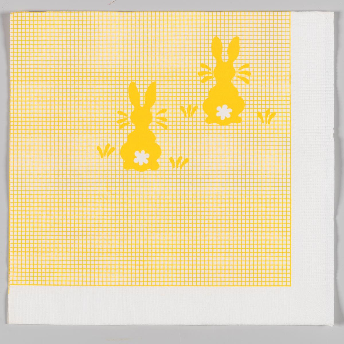 Gul og hvitrutete bakgrunn med to gule harer med hvit halestump