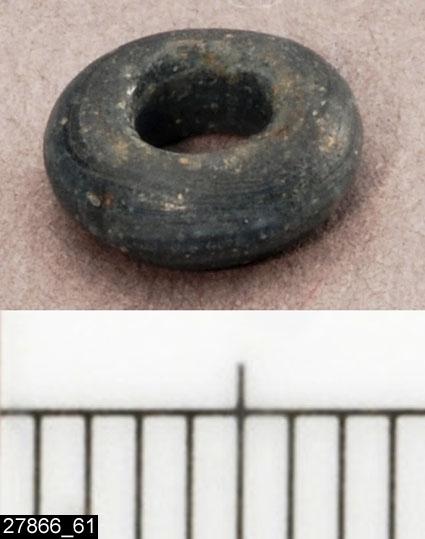 Anmärkningar: Badelunda sn, Tuna undersökt 1952-1953 Pärla, från båtgrav daterad till yngre järnålder, 850 e.Kr. (Vikingatid)  Pärla av glas, från grav 75 (fyndnr 61). 1 st liten blå. Diam ca 8 mm  Den ursprungliga ordningen på pärlorna, enligt tidigare registrering: Pärlrad 1: (fyndnr) 34, 99, 87, 50, 83, 52, 104, 73, 128, 126, 117, 51, 54, 130, 21, 29, 82, 57, 62, 129, 135, 119. Pärlrad 2: 49, 115, 42, 63, 28, 48, 22, 47, 26, 118, 35, 32, 66, 64, 103, 40, 108, 71, 78, 107, 79, 134, 72, 143, 70, 61, 76, 85, 92, 141, 68, 100, 101.  Tidigare dubbelregistrerad som pärlband under invnr 28008. Pärlorna från grav 75 har omregistrerats av Access-projektet 2007 och då registrerats på enskilda poster under sitt ursprungliga (från rapporten) fyndnummer.  Litteratur Nylén, E. & Schönbäck, B. 1994. Tuna i Badelunda. Guld kvinnor båtar I. Västerås kulturnämnds skriftserie 27. Västerås. s 44ff. Nylén, E. & Schönbäck, B. 1994. Tuna i Badelunda. Guld kvinnor båtar II. Västerås kulturnämnds skriftserie 30. Västerås. s 112 ff, 150ff, 200.  Fotograferad teckning negnr A-7422