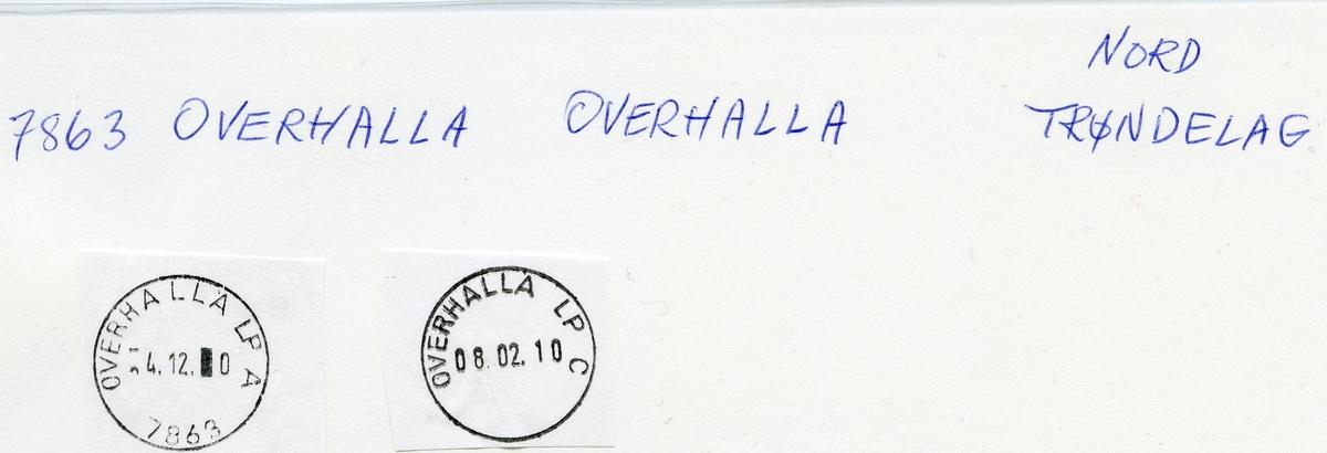Stempelkatalog  7863 Overhalla, Namsos kommune, Nord-Trøndelag