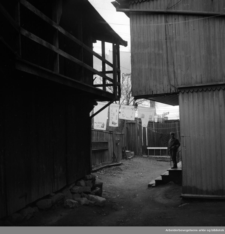 Kampen, gammel bebyggelse. Desember 1955