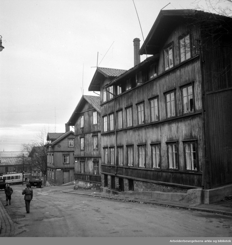 Kampen, gammel bebyggelse:.Desember 1955