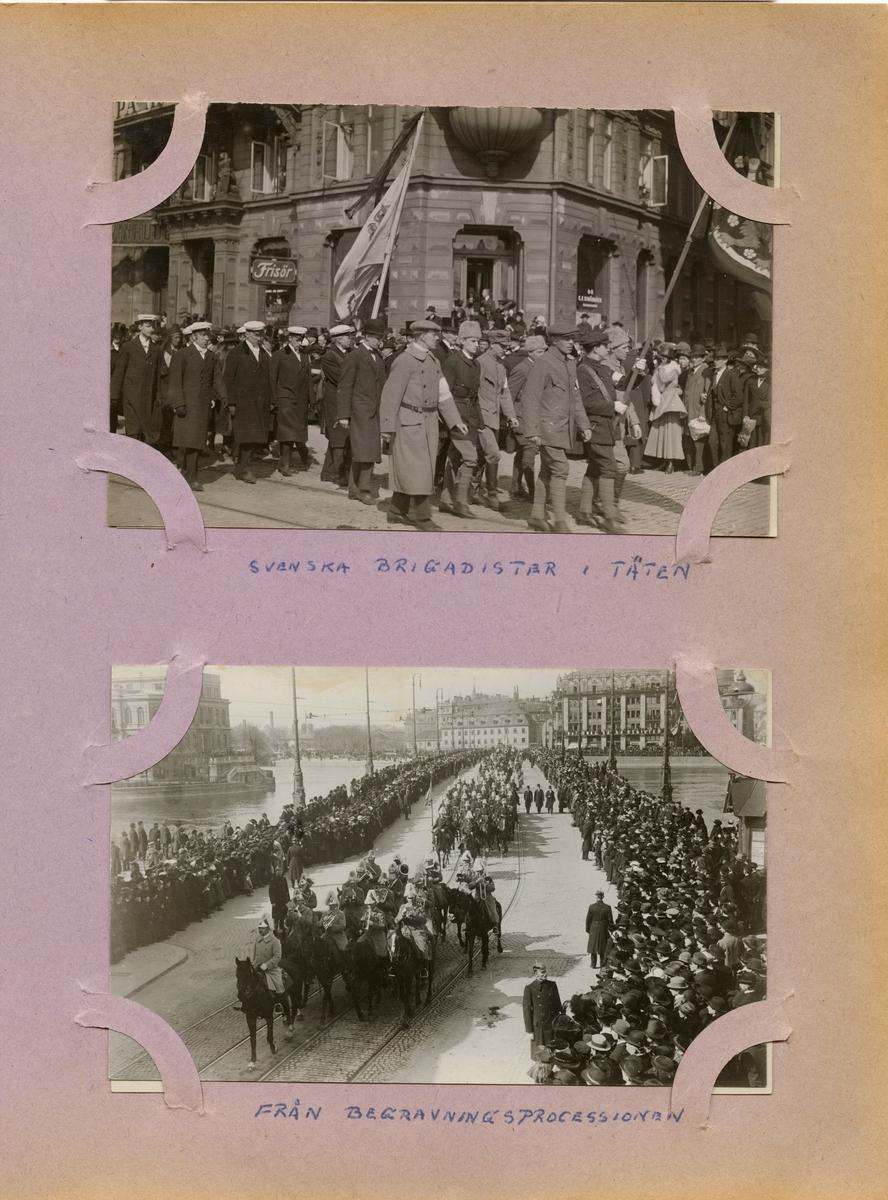 """Text i fotoalbum: """"Svenska brigadister i täten"""". Begravningsprocession."""