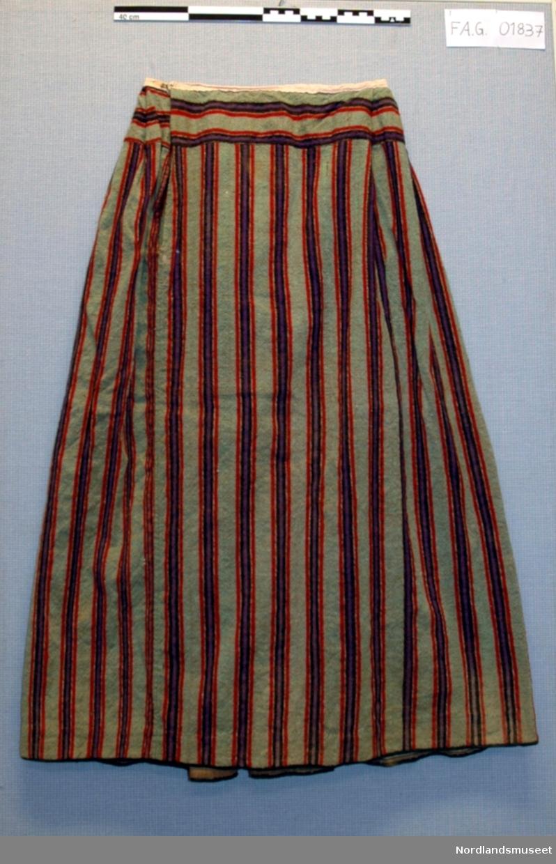 d8dff88e Stripet ullskjørt med splitt i siden. Stoffet er stripet i grønt, rødt,  lilla