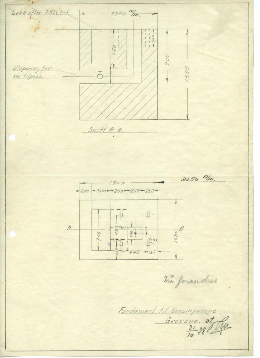 Arbeidstegning for fundament til bensinpumpe ved Grovane stasjon.