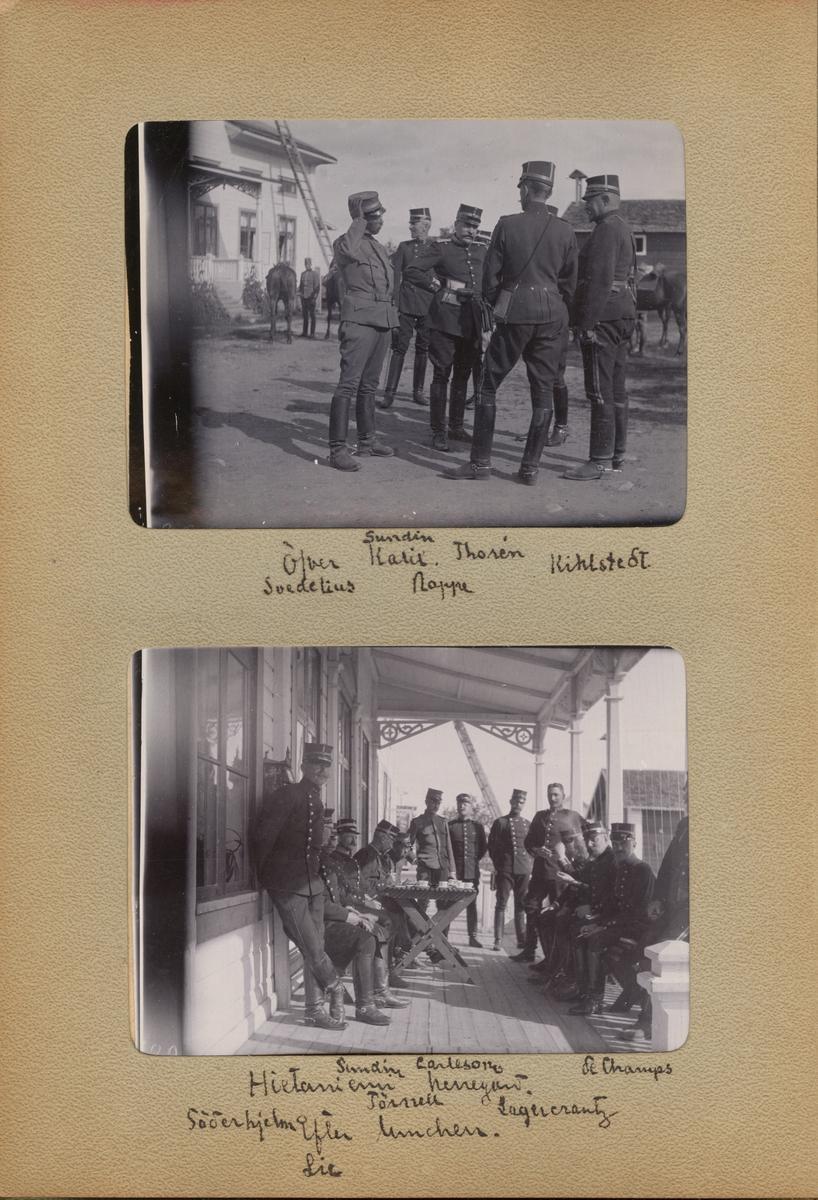 """Text i fotoalbum: """"Hietaniemi herrgård, efter lunchen. Sundin, Carleson, de Champs, Söderhjelm, Törnell, Lagercrantz, Lie."""""""