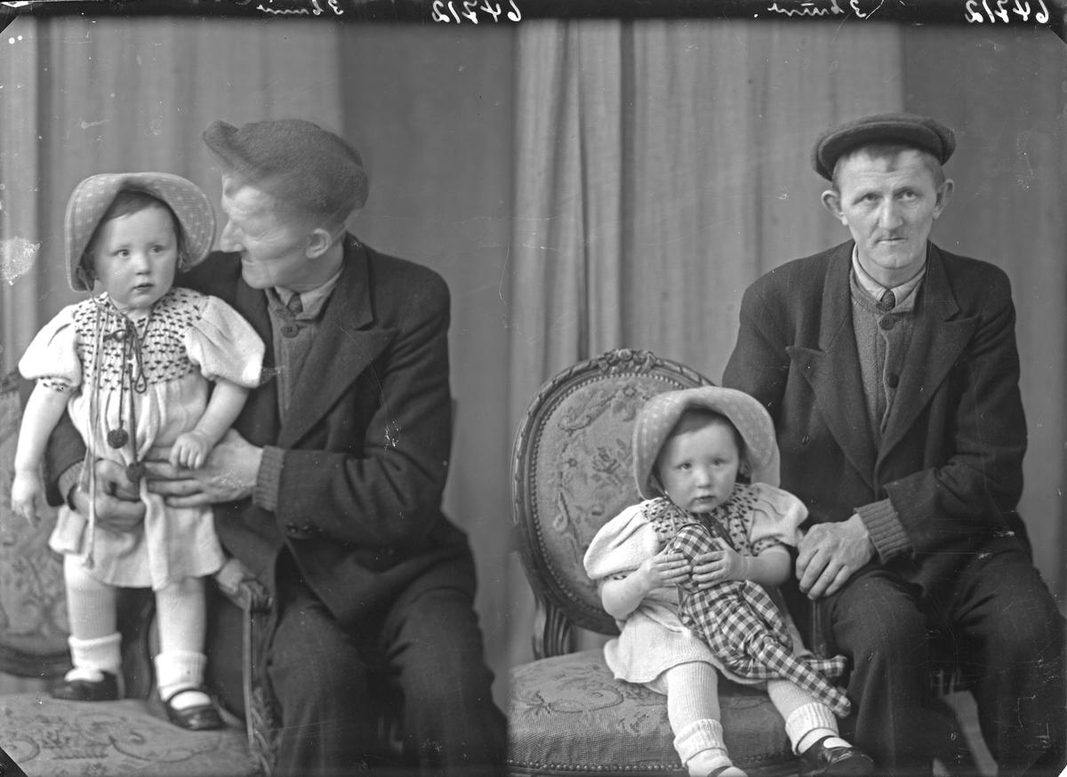 Portrett. Mann og liten pike. Bestilt av Palma Marie Saltvedt. Spanne.