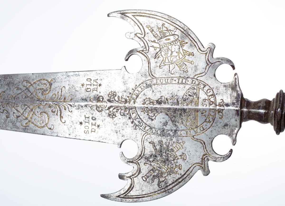 """Bardisan av smide med skaft av trä. Skaftet är svartmålat, klingan och vingarna  med förgylld ornamentering. Vingarna med vapenmotiv, stötklingan med bild av Ferdinand III 1654 och inskriften """"Soli deo Gloria"""" Skaftändan försedd med en spetsig stålskoning. Inskriven i huvudkatalogen 1901."""