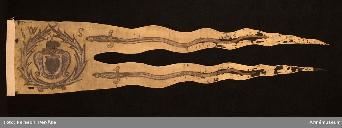 Duk av ursprungligen gul sidendamast. Målad dekor. Yttre och inre sidorna spegelvänt lika. Vapensköld med på tvärslå upphängd druvklase, skölden omgiven av volutformade akantusornament.  Skölden kröns av snedställd vindruvsklase; det hela omgivet av två ned- och upptill korsade palmkvistar. Upptill inskriften W v S. På var tunga en sabel med vågig klinga vars spets är riktad mot flygsidan.