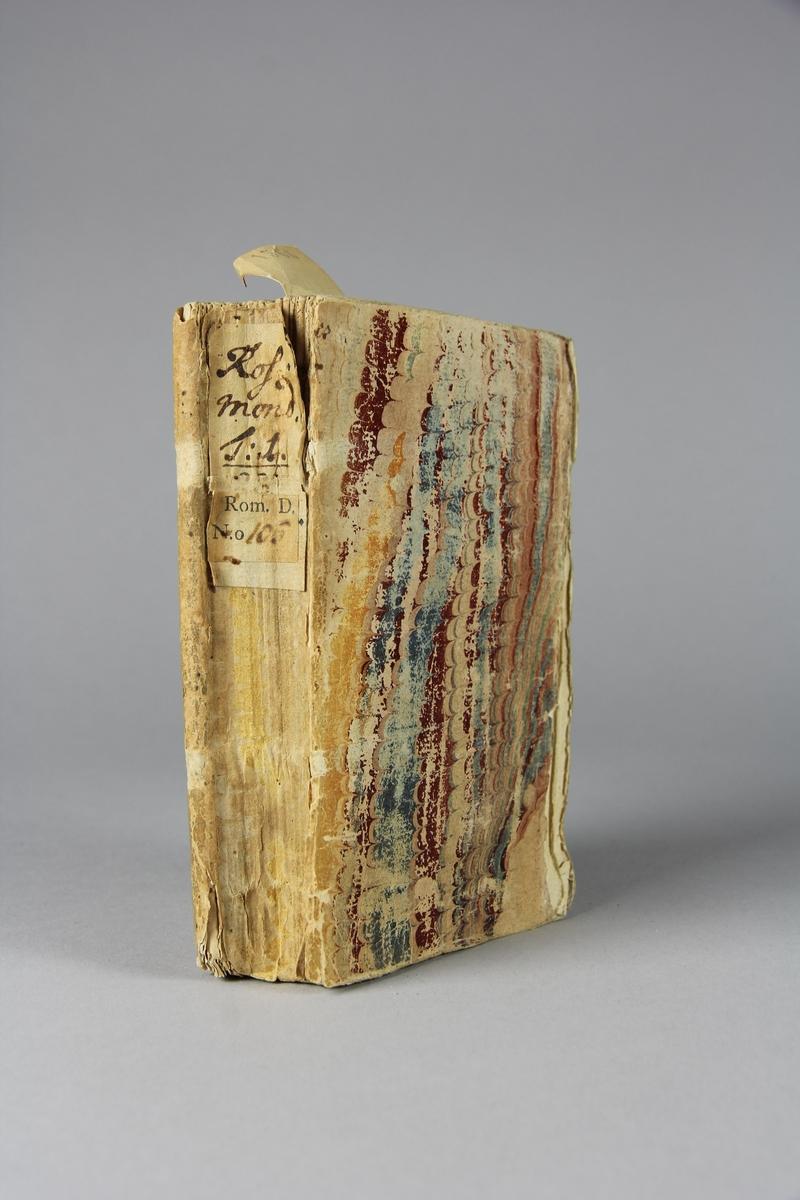 """Bok, häftad, """"Les avantures du comte de Rosmond"""", del 1. Pärm av marmorerat papper, oskuret snitt. Anteckning om inköp."""