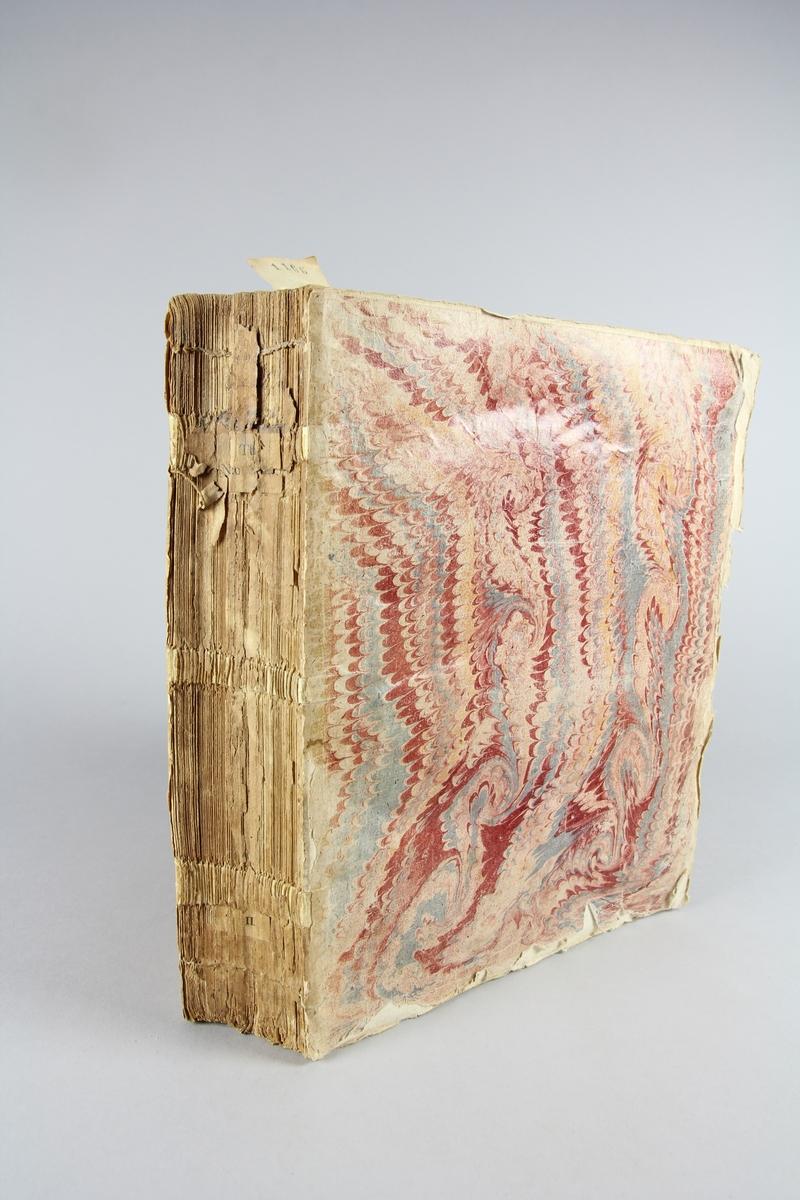 """Bok, häftad,""""Histoire des Papes"""", del 3. Pärmar av marmorerat papper, oskuret snitt. Blekt och skadad rygg."""