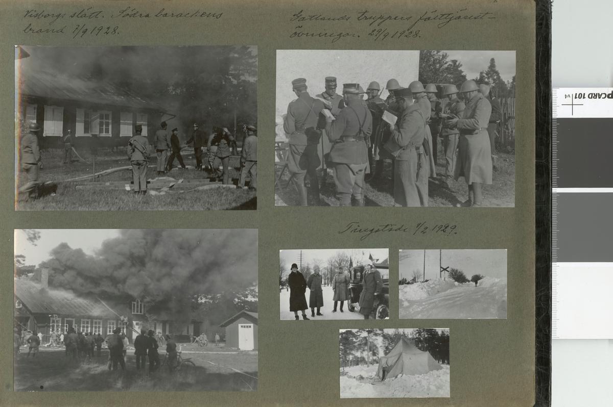 """Text i fotoalbum: """"Gotlands truppers fälttjänsteövningar 29/9 1928""""."""