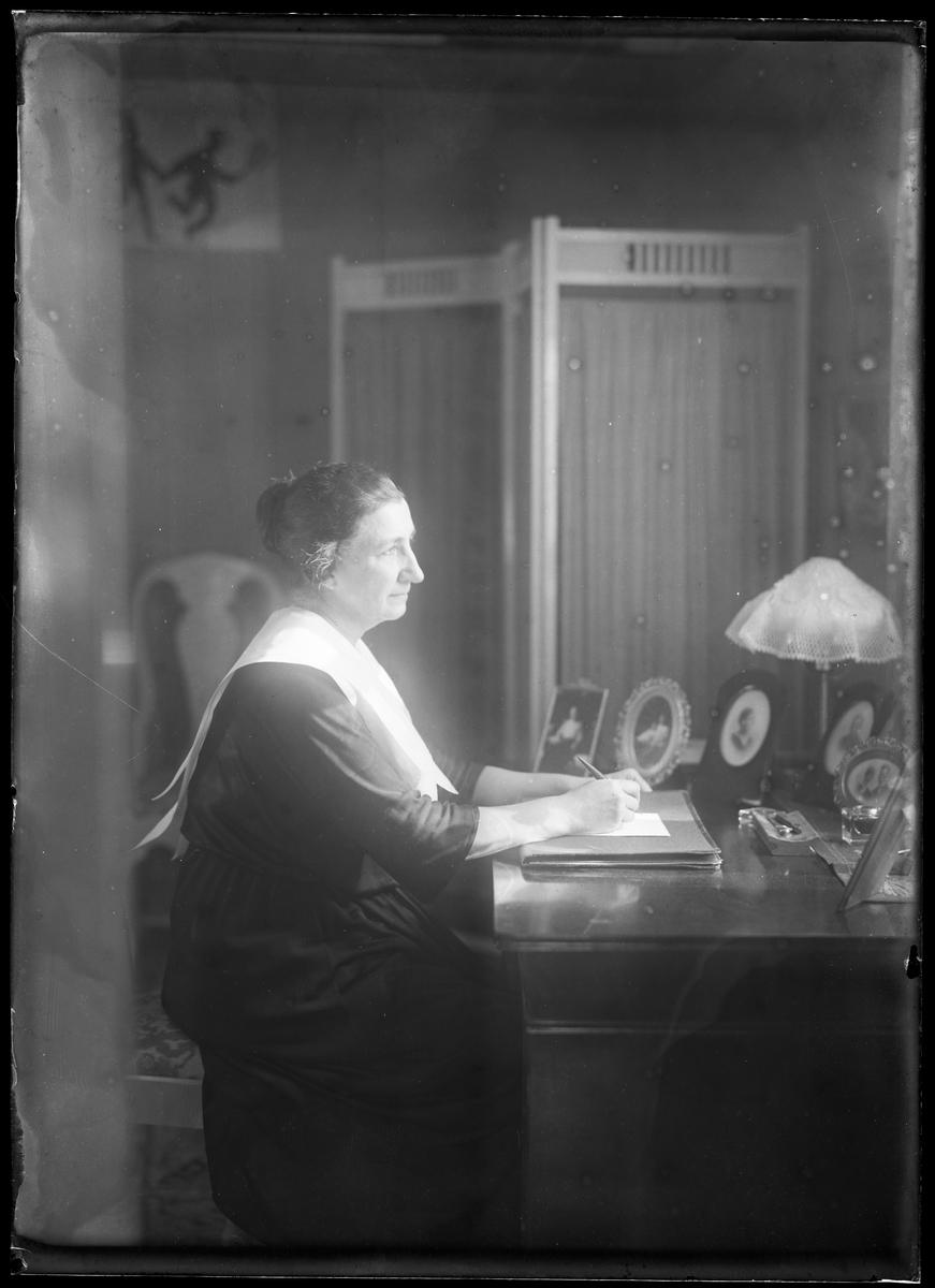 Anna Lenander porträtterad medan hon sitter vid skrivbord och tittar ut genom ett fönster.