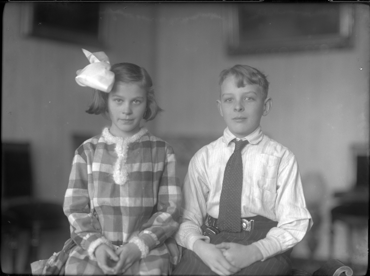 Barnen Norinder porträtterade sittandes bredvid varandra. Hon har en rutig klänning och rosett i håret medan han har skjorta, virkad slips och kritstrecksrandiga byxor.