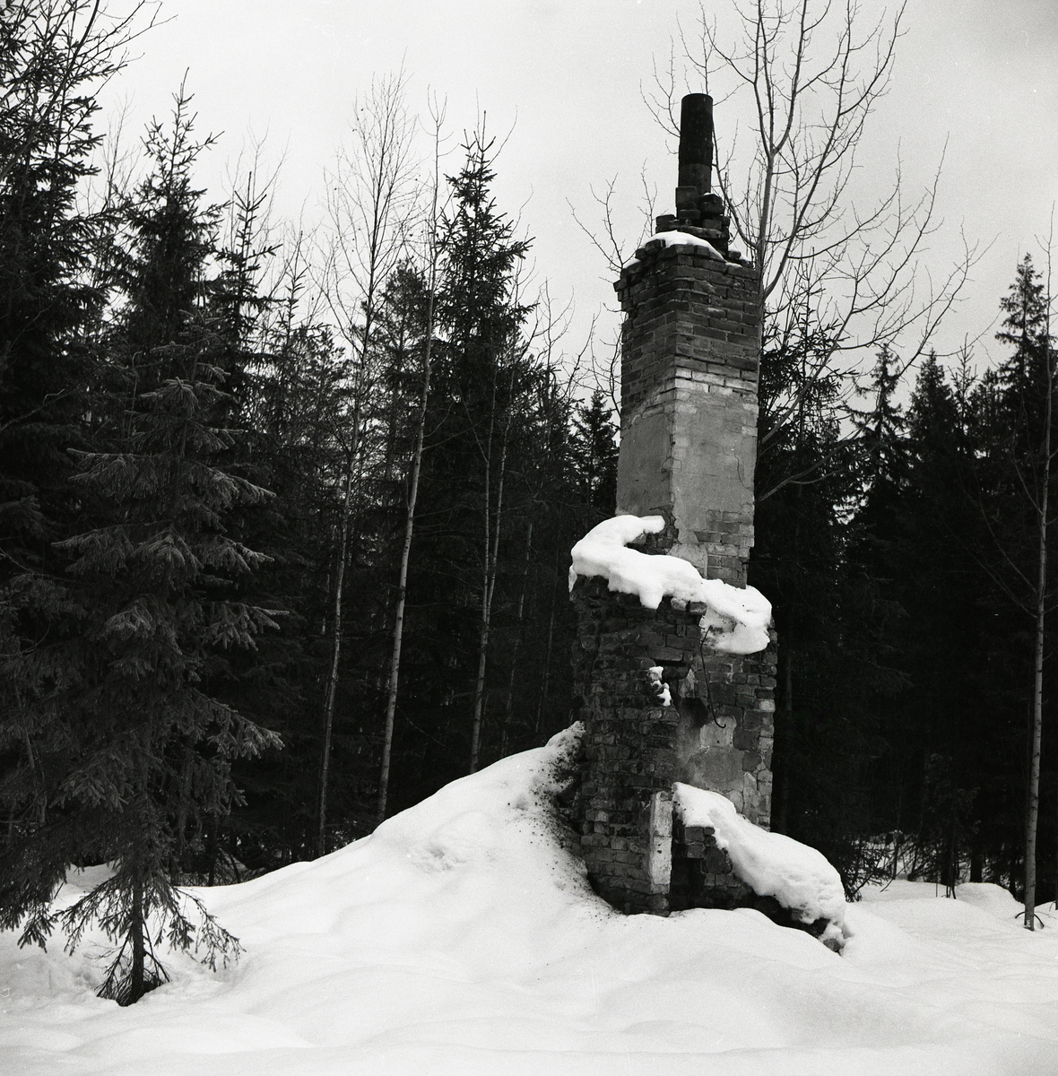 En ruin bestående av grundstenar och murstock efter hyttkvarn i skogen, 3 januari 1960.