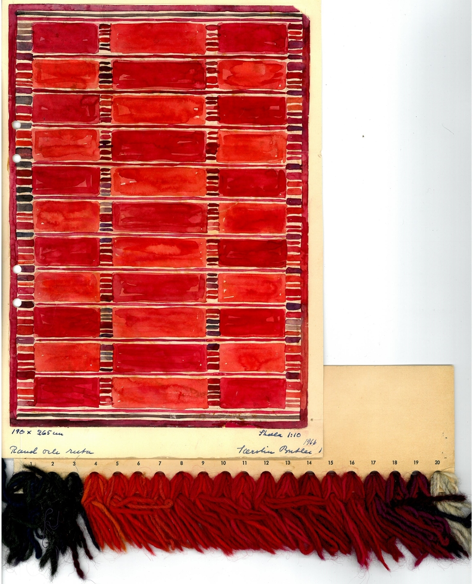 """Skiss till rölakansmatta """"Rand och ruta"""" Formgivare: Kerstin Butler 1966"""