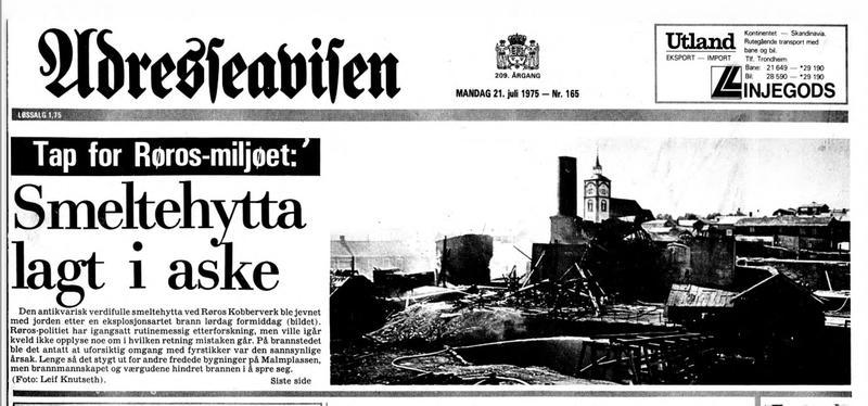 Faksimile av Adresseavisa 21. juli 1975 om brannen i smeltehytta på Røros (Foto/Photo)
