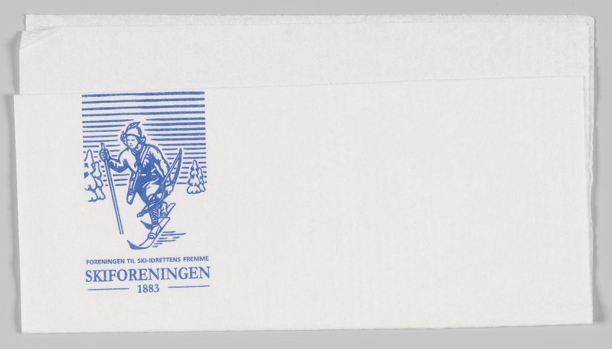 En reklametekst for Skiforeningen og en skiløper fra foreningens logo.