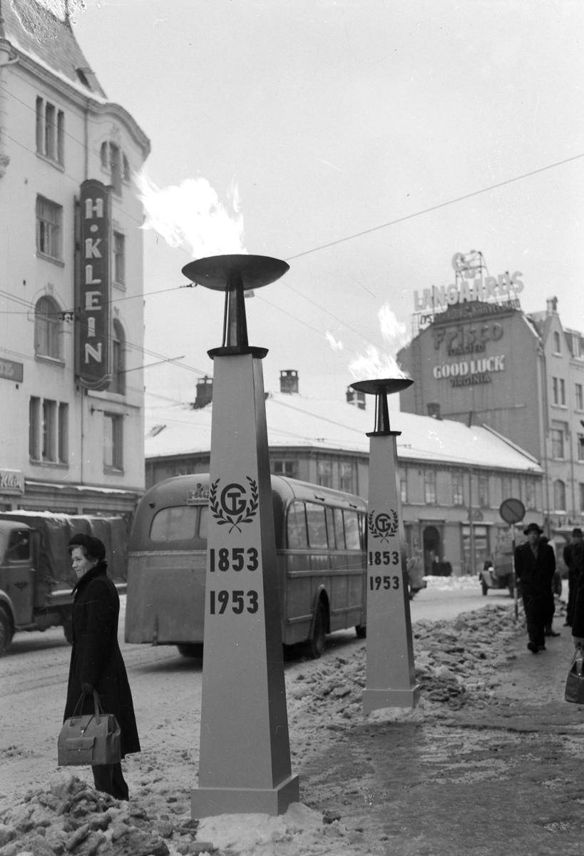 Gassfakkel utenfor Folkets Hus i Trondheim, i anledning Trondheim Gasverk sitt 100-års jubileum