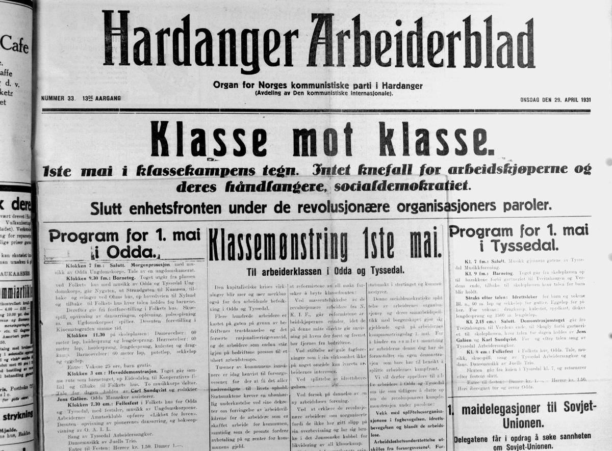 Avis-opprop, Hardanger Arbeiderblad, Klasse mot Klasse, 1. mai klassekampens tegn, program