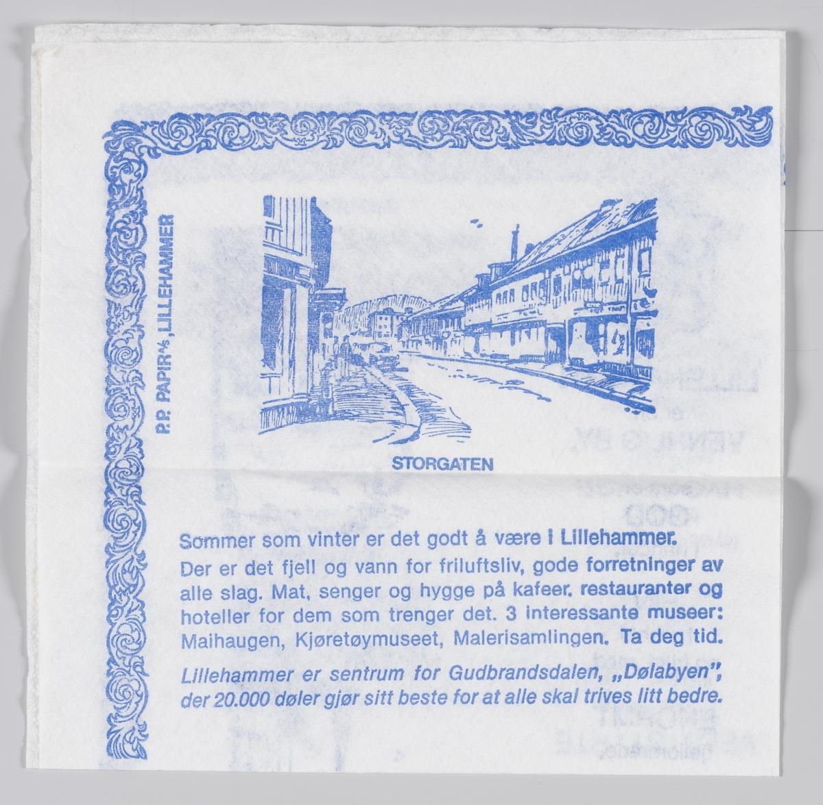 """En tegning av en statue av Lillehammers grunnlegger og Storgaten, Maihaugen; """"Tårnpetter"""" og Stortorget og beskrivelse og reklame for OL-byen Lillehammer."""
