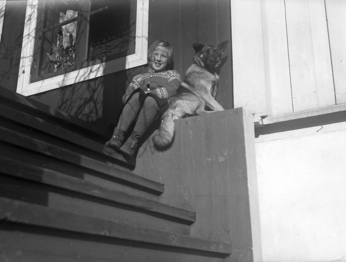Jente og en hund på trappa.