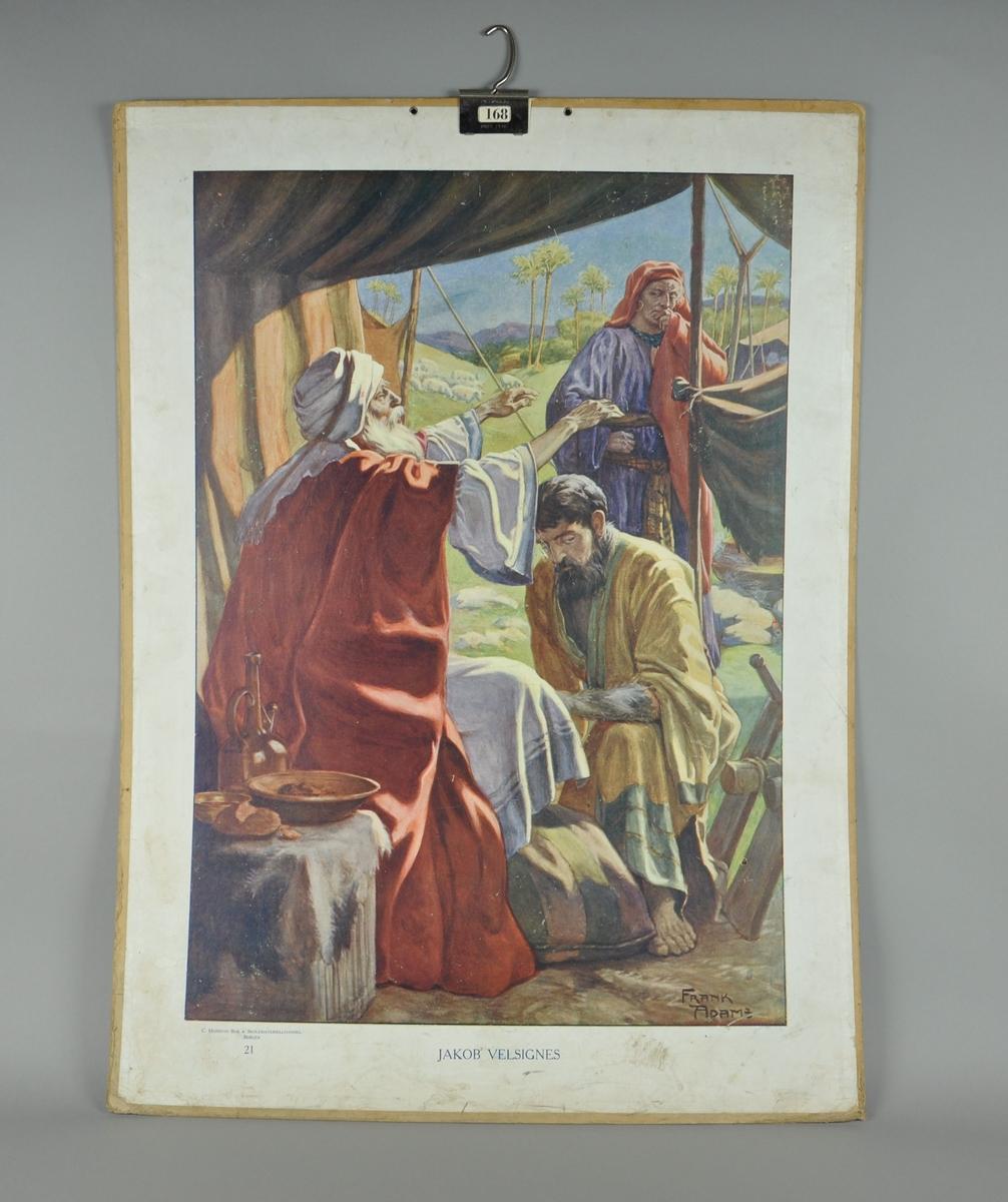 Plansje av papp med motiv av Jakobs velsignelse. Plansjen er forsynt med opphengskrok.