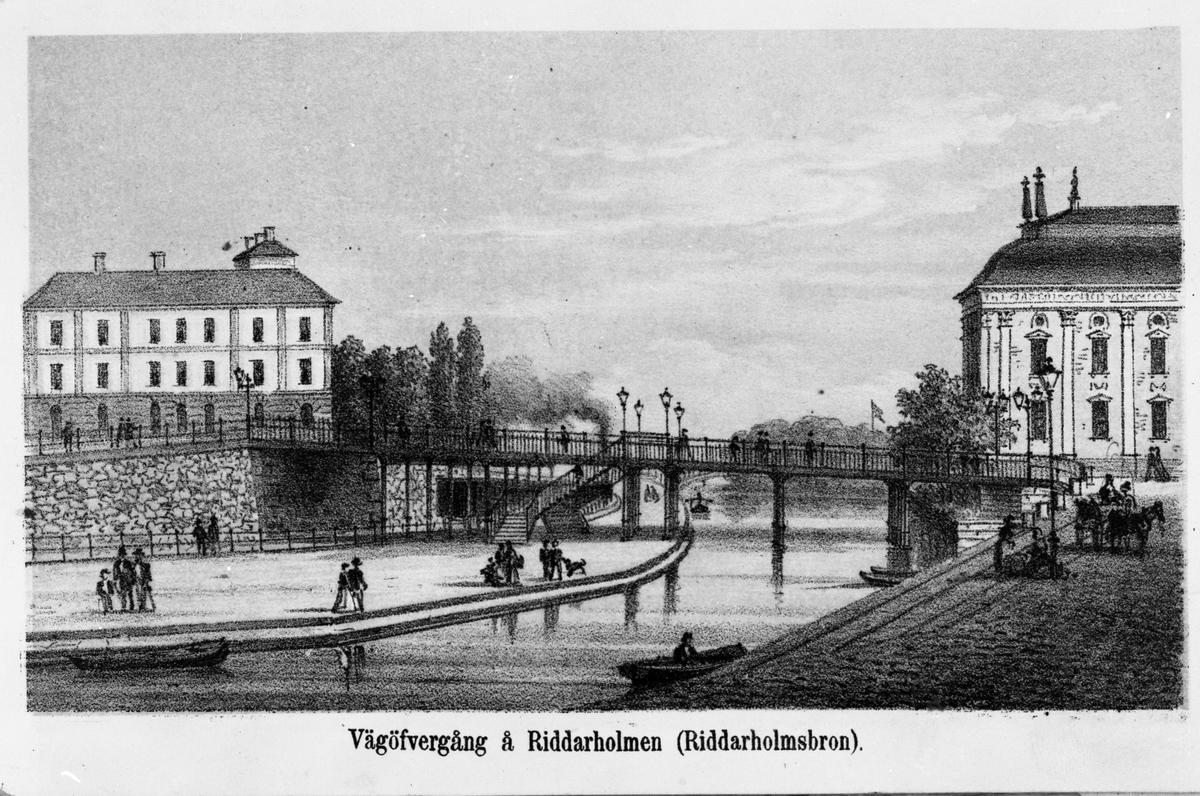 Vägövergång på Riddarholmen. Riddarholmsbron.