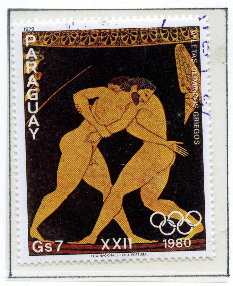 Ni store frimerker montert på et albumark i A4-størrelse. Motivene på på frimerkene er hentet fra greske antikke vaser og viser ulike øvelser fra de klassiske olympiske lekene.