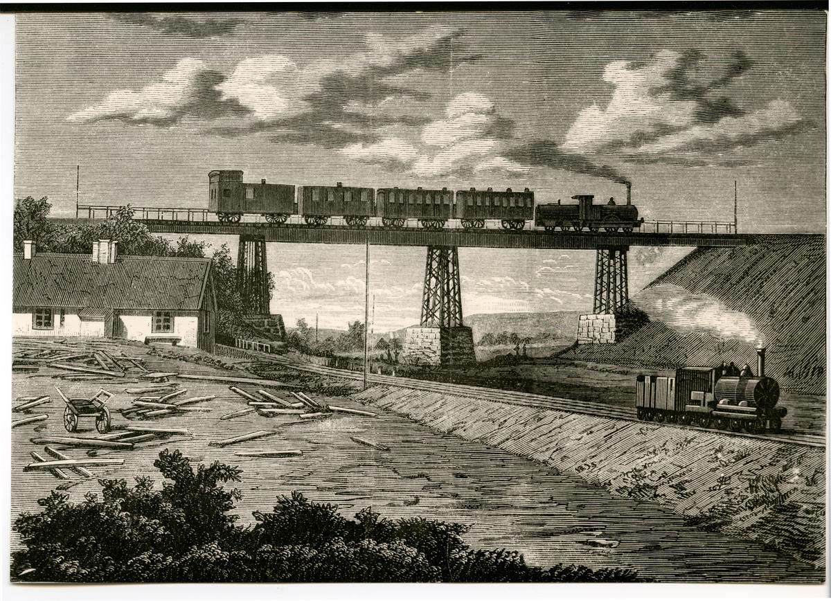 Järnväg över järnväg.Viadukt över Vallåkradalen, tecknad efter fotografi. text baksida av fotot.