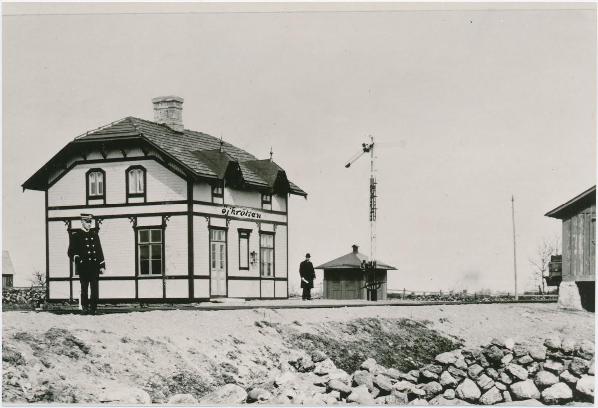 Öjkrokens station. Borgholm-Böda Järnväg, BBJ. Banan öppnades 1/12 1906. Nedlagd 1/10 1961. Såld 1962 till en privatperson.