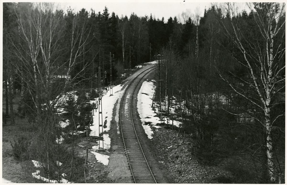 Yv över linjen mellan Södertälje uthamn och Södertälje hamn.