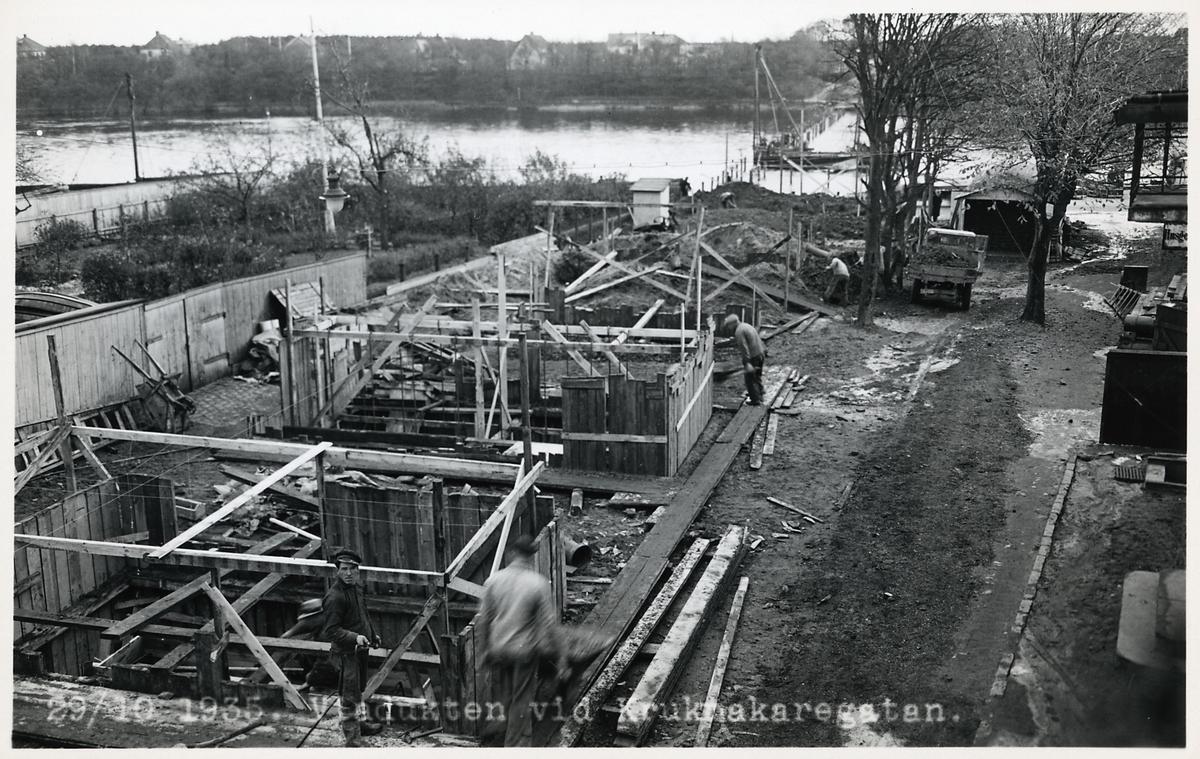 Byggarbetsplats för viadukten vid Krukmakaregatan.