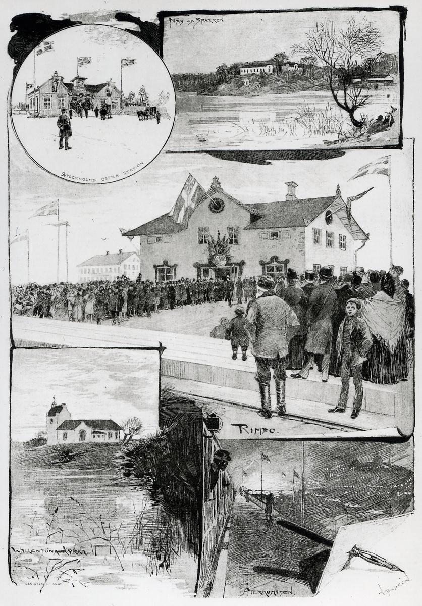 Invigning av smalspårig järnväg melan Stockholm och Rimbo. Teckningar av  V. Andrén