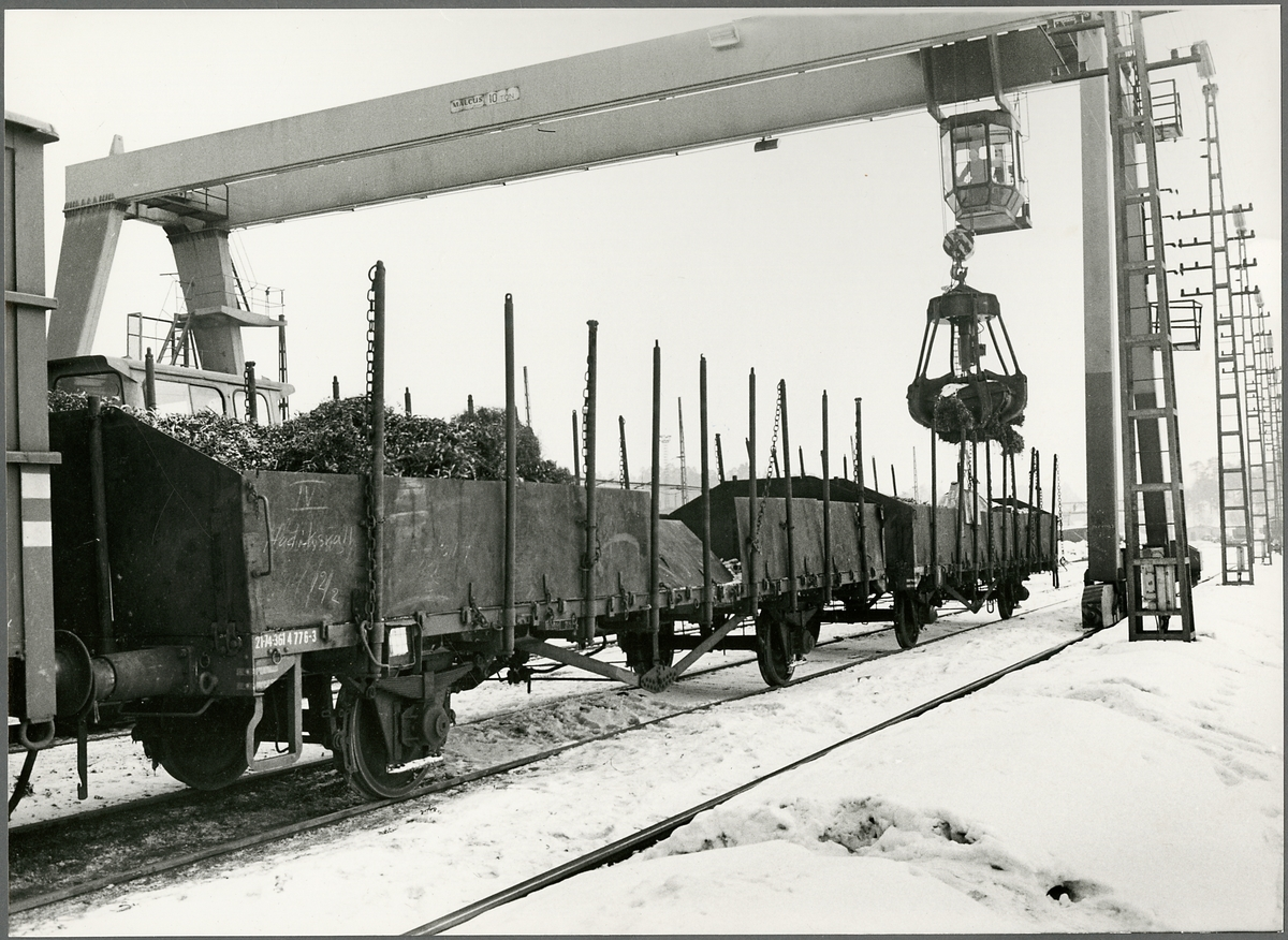 Godsvagnar och pågående lossning vid Nyby bruk.
