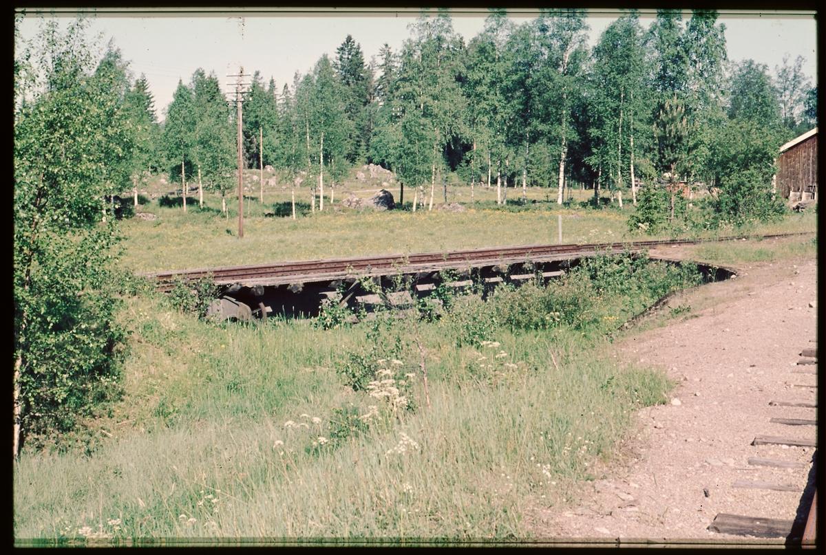 Igenvuxen vändskiva vid Sävenfors HFJ Hällefors Fredriksbergs  järnväg.