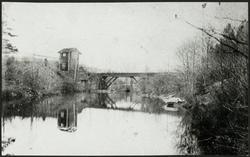 Järnvägsbro i trä på linjen mellan Bånghammar och Kloten.