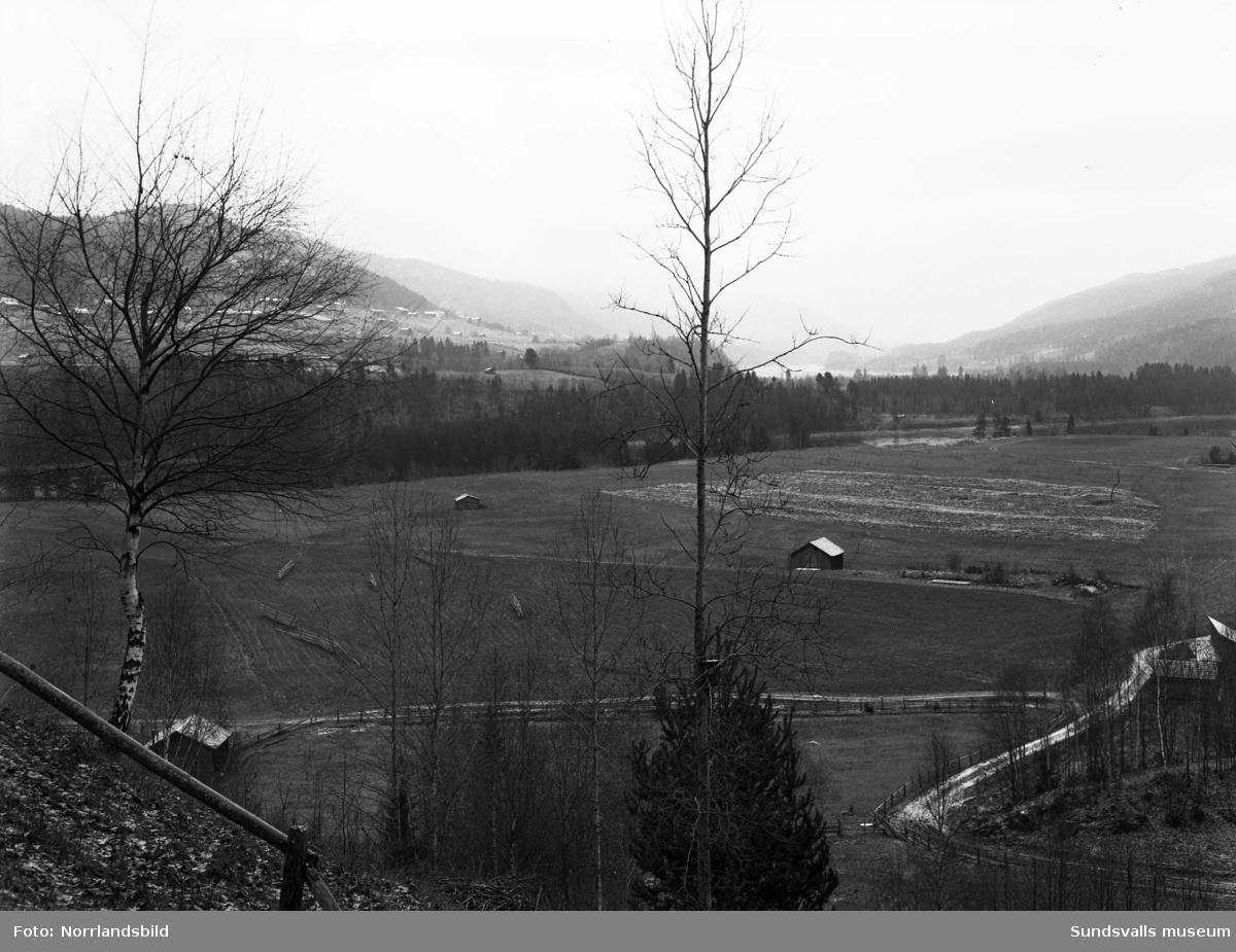 Dämningsområden i Indalsälven inför bygget av Bergeforsens kraftverk.