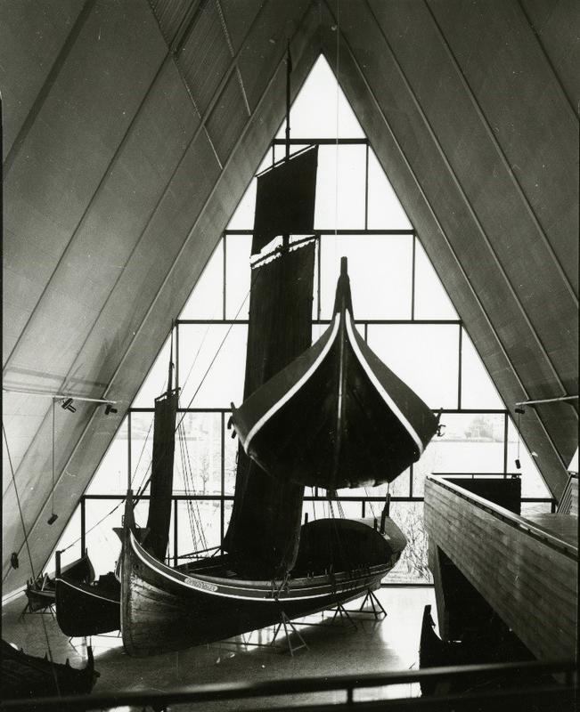 Åpningen av oppgraderte utstillinger i Båthallen, 1987.