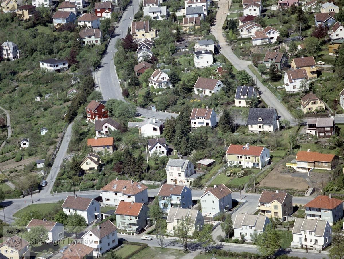 Bebyggelse ved Hageveien, Birks vei, Nedre Stokkavei, Byhaugveien, seehusens gate, Mester Gottfrieds vei, Mester Jochums vei..Til venstre Eiganes kolonihager