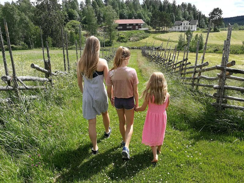 Tre jenter går hånd i hånd mellom skigarder i grønt gress, ned mot elva.