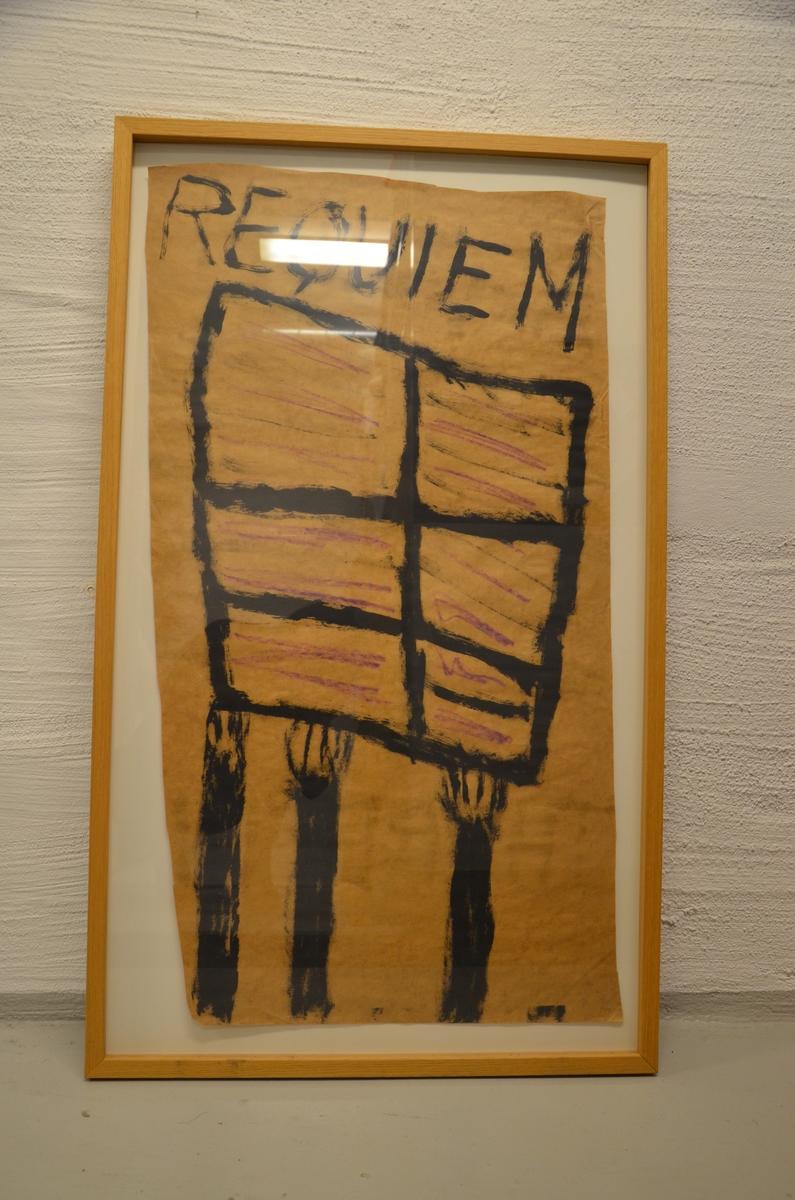 "To innrammede malerier av kunstneren Terje Bergstad, henholdsvis ""Requiem Therezin"" (TB 10094) og ""Verdis Requiem"" (TB 4011 med dirigenten Schächter)."