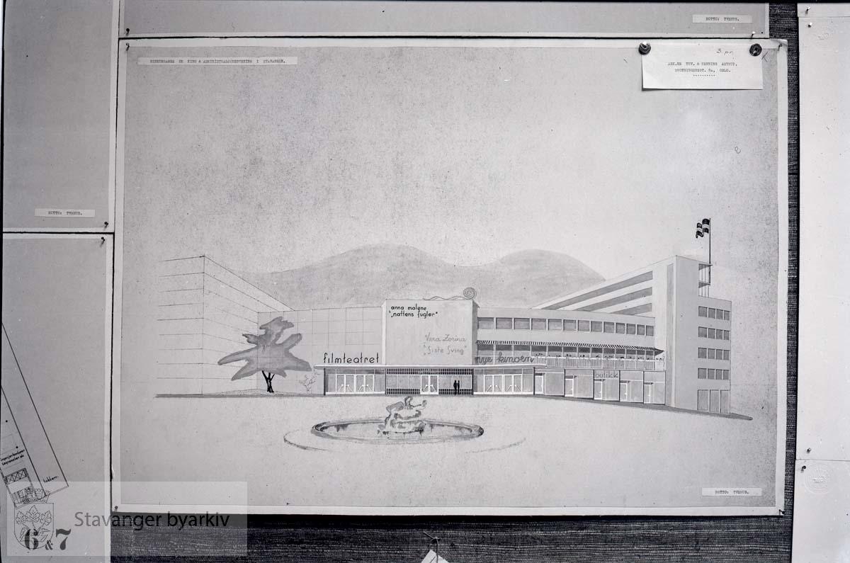 Tegninger av forslag til den nye kinoen, Filmteatret