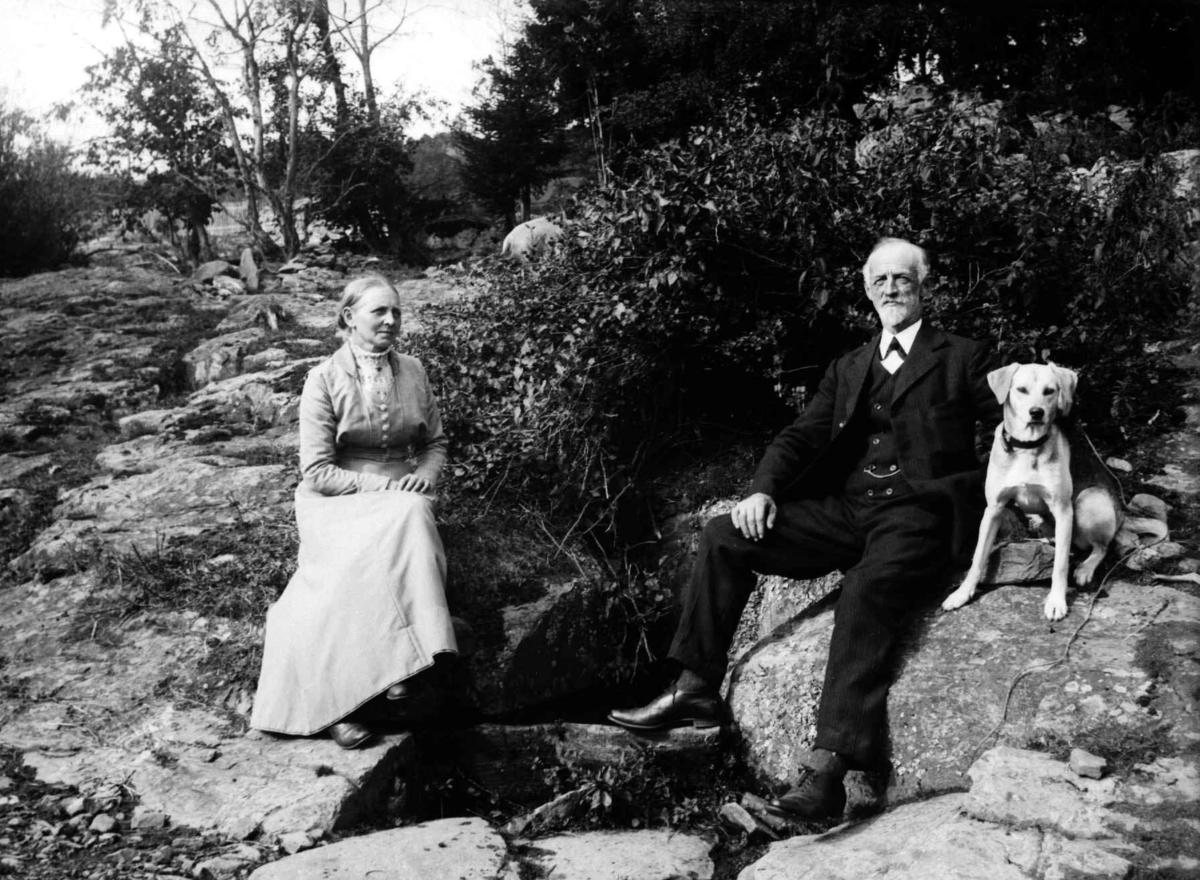 Ekteparet Agnete og Arne Jørstad på Søristugu, Søre Jørstad, med hunds.