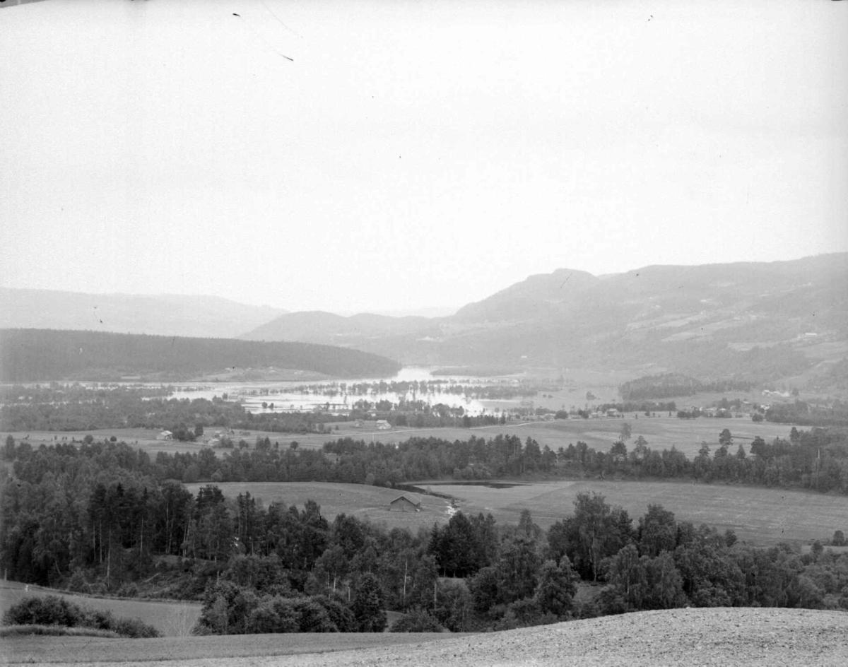 Utsikt fra Jørstadhøgda mot Hovmoen til venstre og Pinnikhaugen bak, og til høyre mot Korpberget. Flom i Gausa.