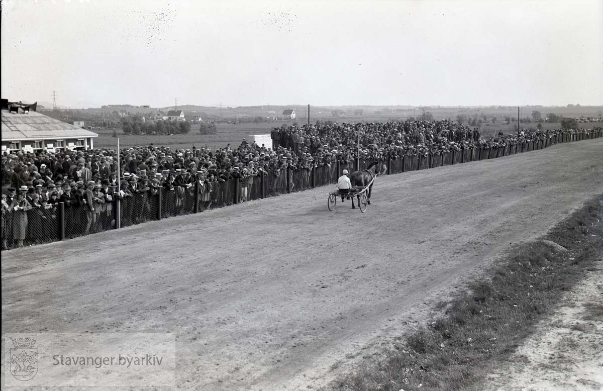 Kusker og hester i kappløp på travbanen Tilskuere langs banen.